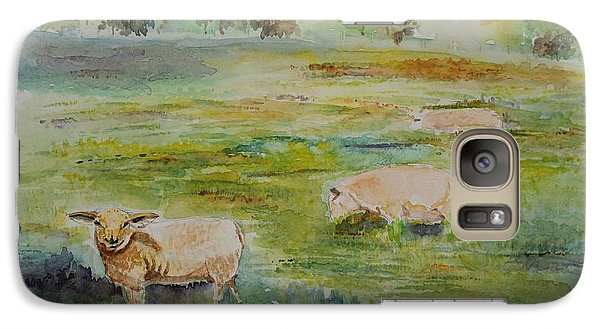 Galaxy Case featuring the painting Sheep In Pasture by Geeta Biswas