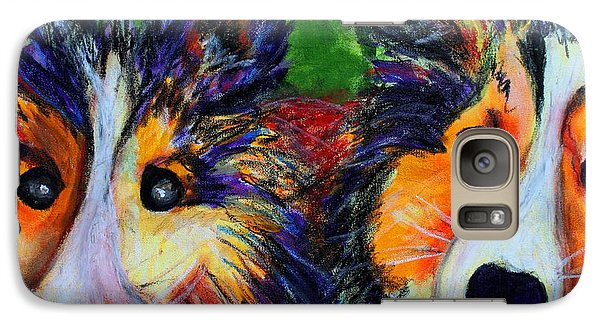 Galaxy Case featuring the painting Sheltie- Whisper And Secret by Laura  Grisham