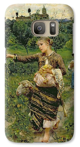 Rural Scenes Galaxy S7 Case - Shepherdess Carrying A Bunch Of Grapes by Francesco Paolo Michetti