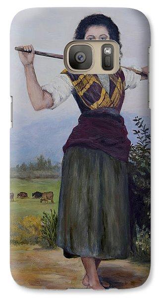 Galaxy Case featuring the painting Shepherdess by Sandra Nardone