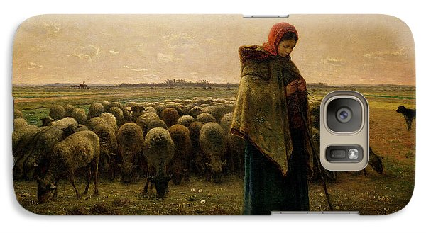 Rural Scenes Galaxy S7 Case - Shepherdess With Her Flock by Jean Francois Millet