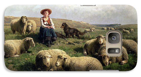 Shepherdess With Sheep In A Landscape Galaxy S7 Case