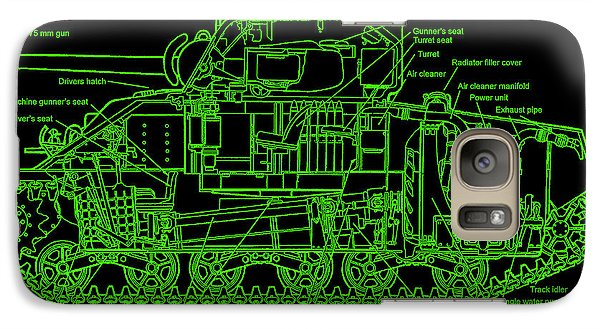 Galaxy Case featuring the drawing Sherman M4a4 Tank by Robert Geary
