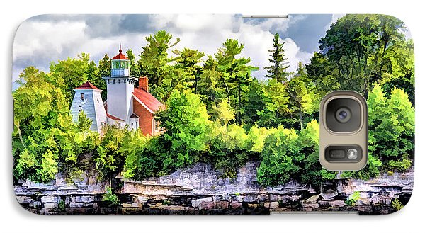 Galaxy S7 Case featuring the painting Sherwood Point Lighthouse by Christopher Arndt