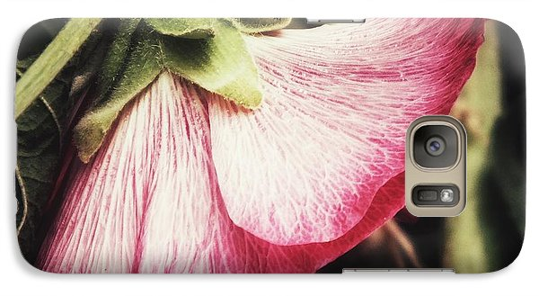 Galaxy Case featuring the photograph Shy Hollyhock by Karen Stahlros