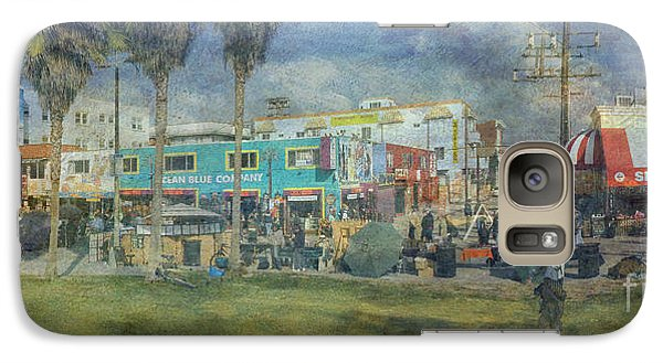 Galaxy Case featuring the photograph Sidewalk Cafe Venice Ca Panorama  by David Zanzinger