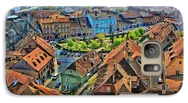 Galaxy Case featuring the painting Sighisoara From Above by Jeff Kolker
