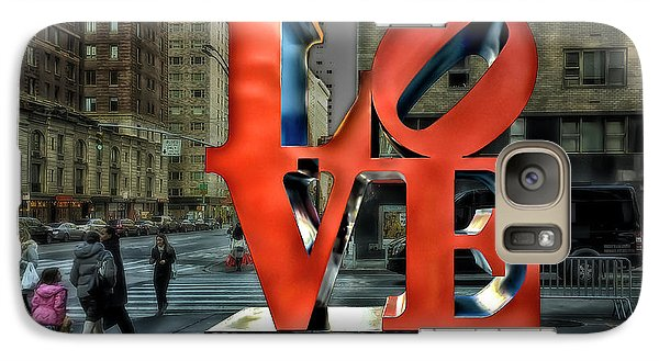 Galaxy Case featuring the photograph Sights In New York City - Love Statue by Walt Foegelle