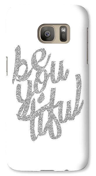 Galaxy Case featuring the digital art Silver 'beyoutiful' Typographic Poster by Jaime Friedman