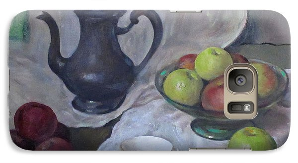 Silver Coffeepot, Apples, Green Footed Bowl, Teacup, Saucer Galaxy S7 Case