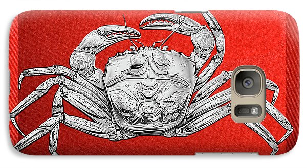 Galaxy Case featuring the digital art Silver Crab On Red Canvas by Serge Averbukh