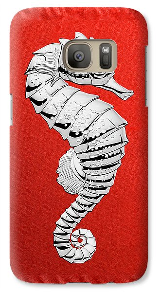 Galaxy Case featuring the digital art Silver Seahorse On Red Canvas by Serge Averbukh