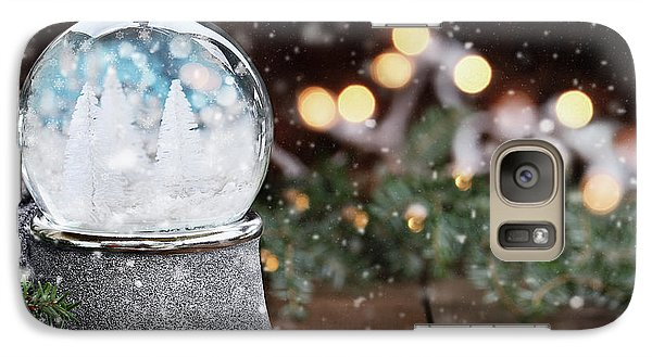 Galaxy Case featuring the photograph Silver Snow Globe With White Christmas Trees by Stephanie Frey