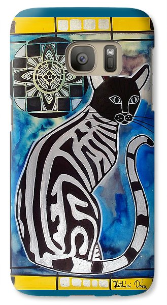 Galaxy Case featuring the painting Silver Tabby With Mandala - Cat Art By Dora Hathazi Mendes by Dora Hathazi Mendes