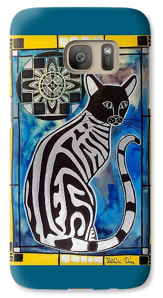 Silver Tabby With Mandala - Cat Art By Dora Hathazi Mendes Galaxy S7 Case
