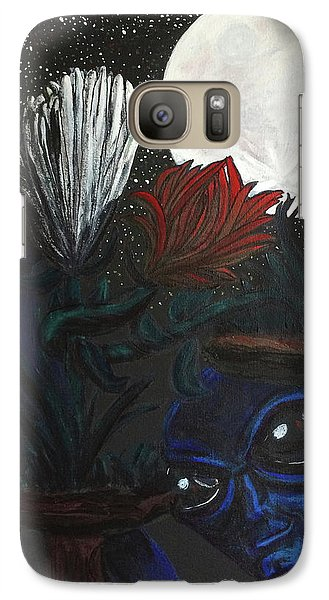 Galaxy Case featuring the painting Similar Alien Appreciates Flowers By The Light Of The Full Moon. by Similar Alien