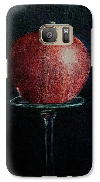 Galaxy Case featuring the drawing Simply An Apple by Lynn Hughes
