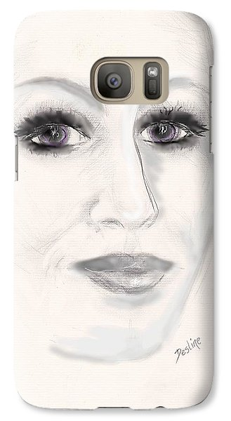 Galaxy Case featuring the drawing Simply Woman by Desline Vitto