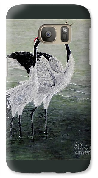 Galaxy Case featuring the painting Singing Cranes by Judy Kirouac