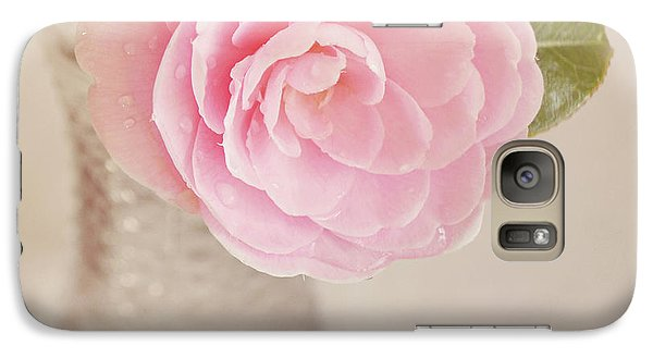 Galaxy Case featuring the photograph Single Pink Camelia Flower In Clear Vase by Lyn Randle