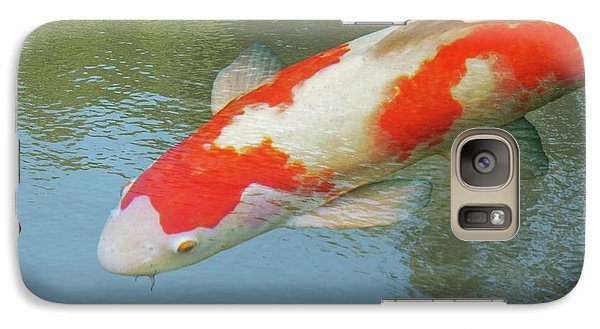 Galaxy Case featuring the photograph Single Red And White Koi by Gill Billington