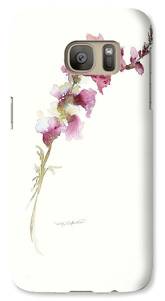 Galaxy Case featuring the painting Single Stem Snapdragon by Sandra Strohschein