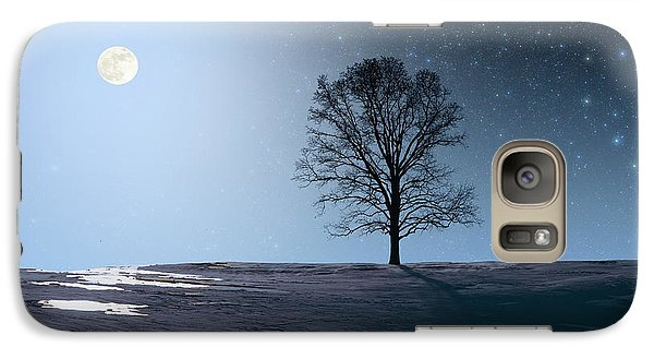 Galaxy Case featuring the photograph Single Tree In Moonlight by Larry Landolfi