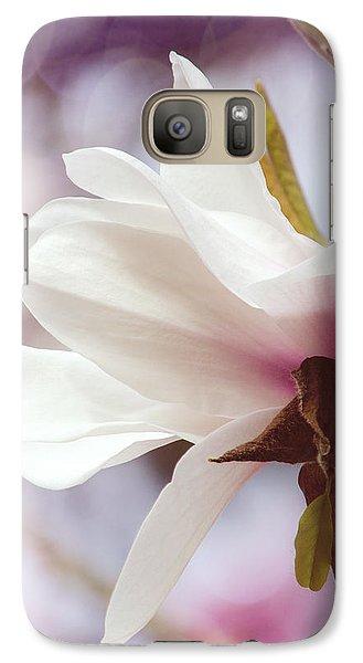 Galaxy Case featuring the photograph Single White Magnolia by Jordan Blackstone