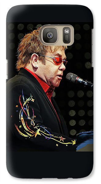 Sir Elton John At The Piano Galaxy S7 Case by Elaine Plesser