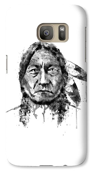 Galaxy Case featuring the mixed media Sitting Bull Black And White by Marian Voicu