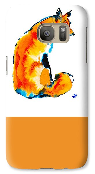 Galaxy Case featuring the painting Sitting Fox by Zaira Dzhaubaeva