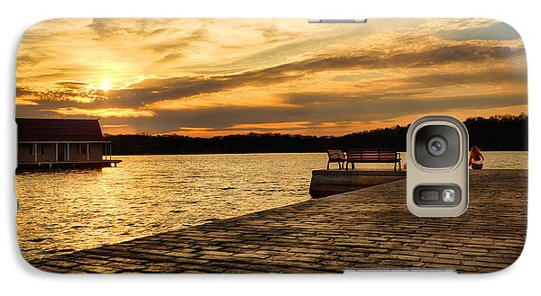 Galaxy Case featuring the photograph Sitting On The Dock Of The Lake by Mark Miller
