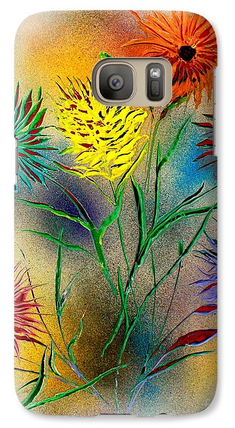 Galaxy Case featuring the painting Six Flowers - E by Greg Moores