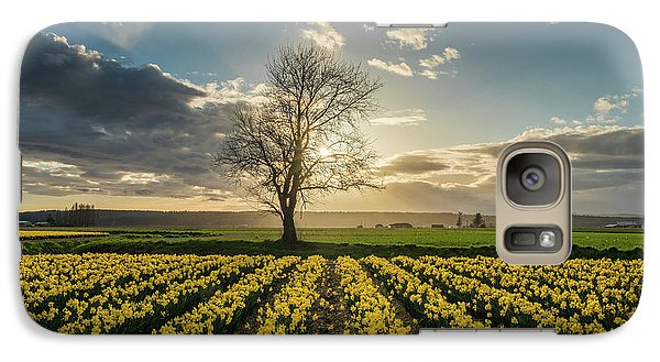 Galaxy Case featuring the photograph Skagit Daffodils Lone Tree  by Mike Reid