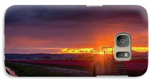 Galaxy Case featuring the photograph Skagit Valley Tractor Sunstar by Mike Reid