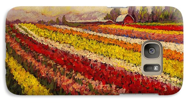 Galaxy Case featuring the painting Skagit Valley Tulip Field by Charles Munn
