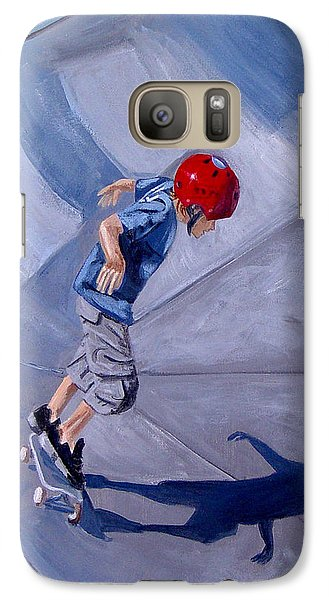 Galaxy Case featuring the painting Skateboarding by Quwatha Valentine