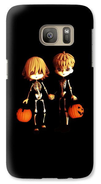 Galaxy Case featuring the digital art Skeleton Twinz Halloween by Methune Hively