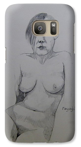 Galaxy Case featuring the drawing Sketch Reclining Cassie by Ray Agius