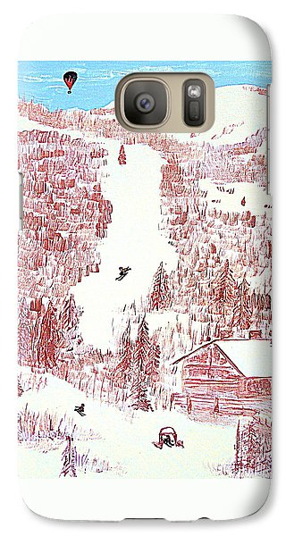 Galaxy Case featuring the painting Skiing Deer Valley Utah by Richard W Linford