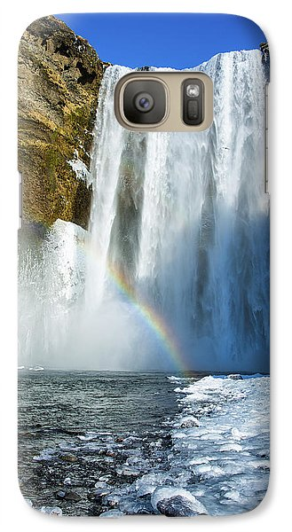 Galaxy Case featuring the photograph Skogafoss Waterfall Iceland In Winter by Matthias Hauser