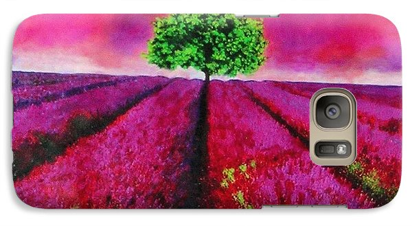 Galaxy Case featuring the painting Sky And Field Aflamed by Marie-Line Vasseur