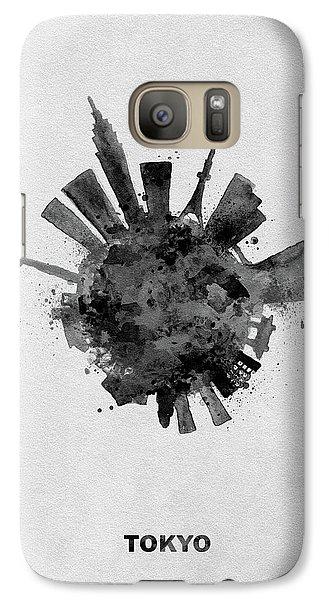 Tokyo Skyline Galaxy S7 Case - Black Skyround / Skyline Art Of Tokyo, Japan by Inspirowl Design