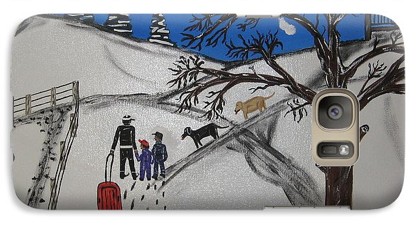 Galaxy Case featuring the painting Sled Riding by Jeffrey Koss