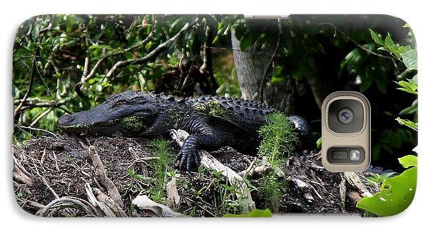 Galaxy Case featuring the photograph Sleeping Alligator by Barbara Bowen