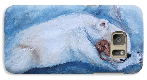 Galaxy Case featuring the painting Sleeping Buddies Aceo Baby Polar Bear And Mouse by Brenda Thour