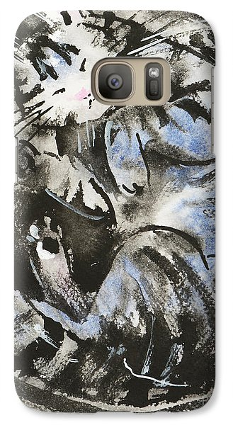 Galaxy Case featuring the painting Sleeping Tabby Cat by Zaira Dzhaubaeva