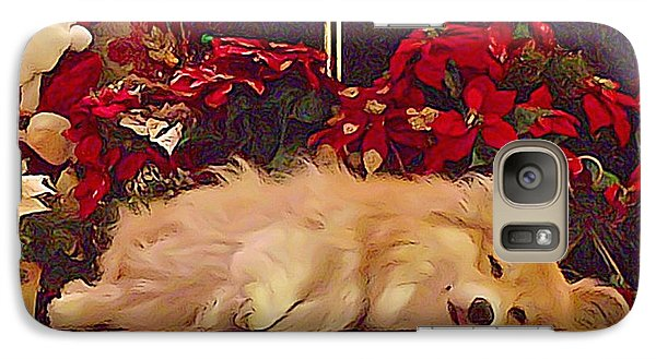 Galaxy Case featuring the photograph Sleepy Holiday Corgi Surrounded By Poinsettias. by Kathy Kelly