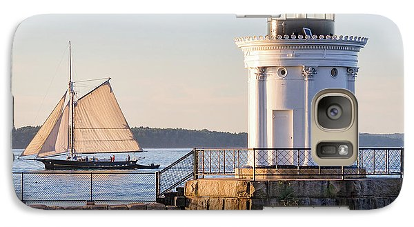 Galaxy Case featuring the photograph Sloop And Lighthouse, South Portland, Maine  -56170 by John Bald