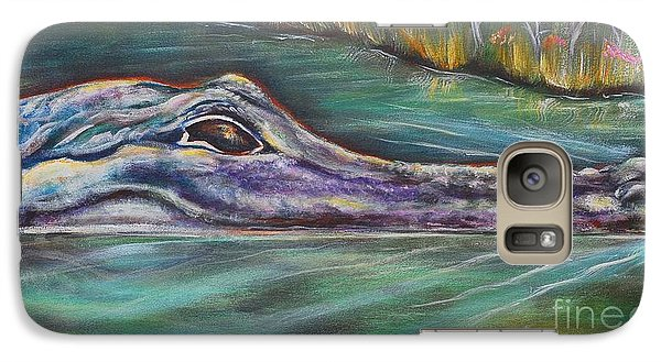 Galaxy Case featuring the painting Sly Gator by Patricia Piffath